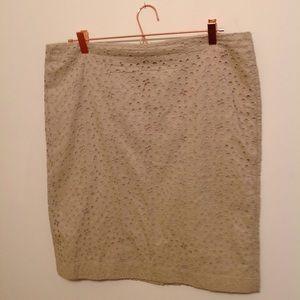 Talbots Beige Skirt Eyelet lace plus sz 14
